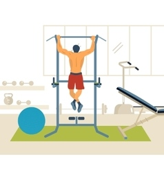 Man pull-up up on horizontal bar in gym vector