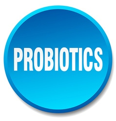 Probiotics blue round flat isolated push button vector