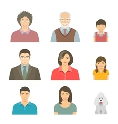 Asian family faces flat avatars set vector