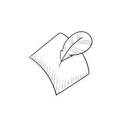 Feather and document sketch icon vector