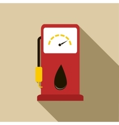 Gas station pump with fuel nozzle icon flat style vector