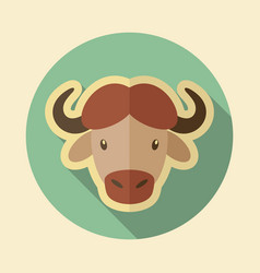 buffalo bison ox flat icon animal head vector image