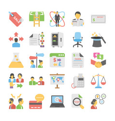 business flat colored icons 7 vector image vector image