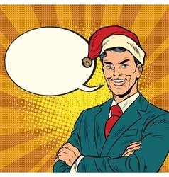 Businessman in a christmas hat vector