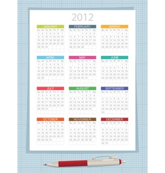 calender for 2012 vector image vector image