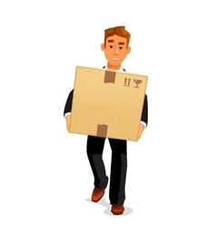 Cartoon courier delivering a parcel to recipient vector image