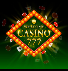 casino signboard welcome billboard 777 shining vector image vector image