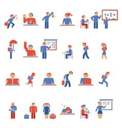 Children in school flat icons vector