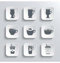 Cup of coffee web icons set in black and white vector image vector image
