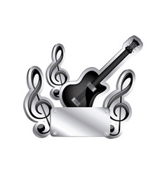 Electric guitar and musical notes icon relief with vector