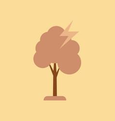 Flat icon on stylish background lightning tree vector