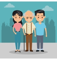 Grandfather and parents icon family design city vector