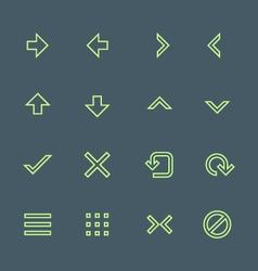 green outline various navigation menu buttons vector image vector image