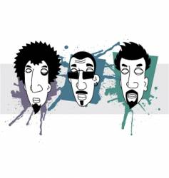 grunge heads vector image