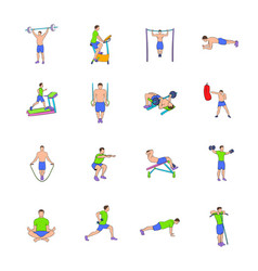 Gym icons set cartoon vector