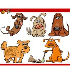 happy dogs cartoon set vector image vector image