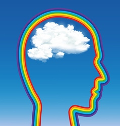 head of a man in the shape of a rainbow with a vector image vector image