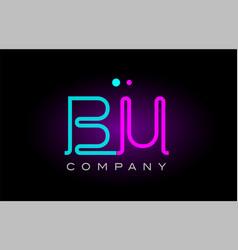 Neon lights alphabet bu b u letter logo icon vector