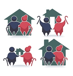 Old peple and homes vector