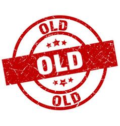 old round red grunge stamp vector image
