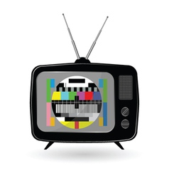 Old tv with tv test vector