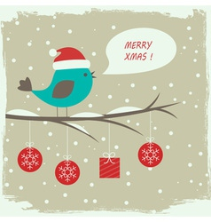 Retro winter card with cute bird vector image