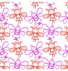 Seamless pattern with little fairies vector