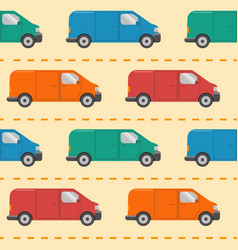 Seamless pattern with minivan cars vector