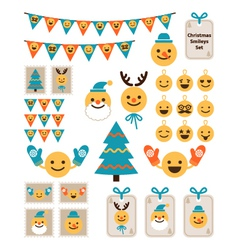 set Christmas smileys vector image