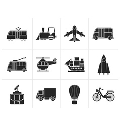 Silhouette Travel and transportation icons vector image