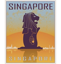Singapore vintage poster vector image vector image