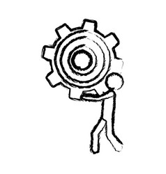 Sketch of man holding a pinion vector