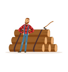 Smiling lumberjack man standing against pile of vector