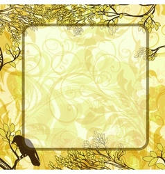 Square background with tree branches and crow vector