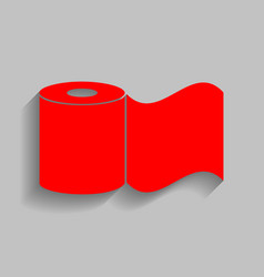 Toilet paper sign red icon with soft vector