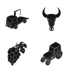 Tractor winemaking and or web icon in black style vector