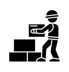 worker builder taking bricks icon vector image vector image