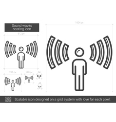 Sound waves hearing line icon vector
