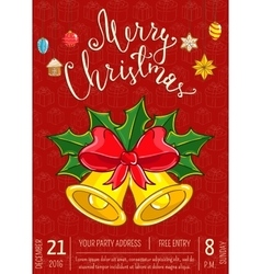 Merry christmas poster for holiday party promo vector