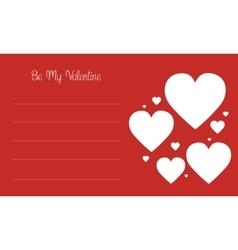 Valentine day card with love on red backgrounds vector
