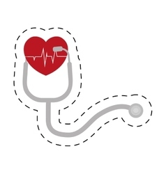 Stethoscope pulse heart diagnosis cut line vector