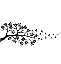 Tree silhouette with butterfly vector