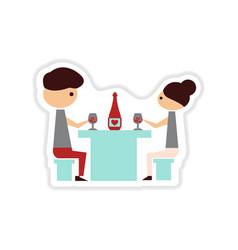 Paper sticker on white background couple romantic vector