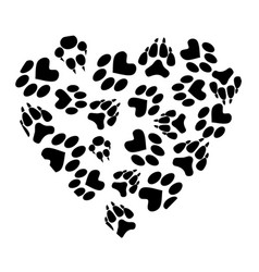 abstract heart from traces of pets vector image