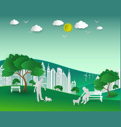 Concept of eco with nature and building vector