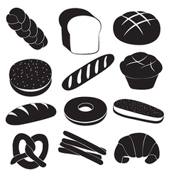 Fresh breads and bakery set vector