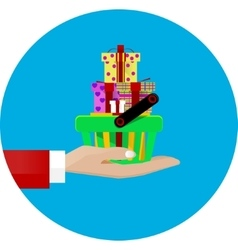 hand giving a shopping basket vector image