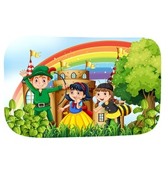 Children in costume having fun in the park vector