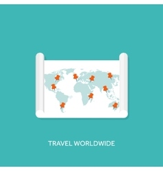 Flat map with pointer travel vector