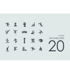 Set of snowboard icons vector